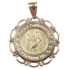 Vintage 14k Gold Saint Christopher Protect Us Pendant