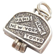 Sterling Silver Travelers Suitcase Charm ~Bikini ~ Paris, Rome, New York, Tokyo