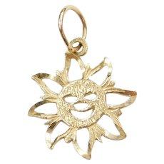 14k Gold Sun Charm