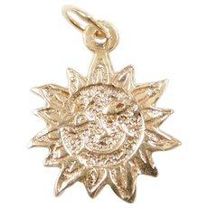 Vintage 14k Gold Sun Charm