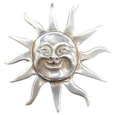 Sterling Silver Big Sun Pendant / Pin ~ Made in Mexico