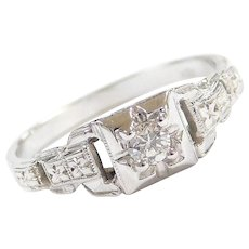 Art Deco .10 Carat Diamond Sweet Engagement Ring 18k White Gold