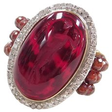 Tagliamonte Vicenza Designer 14k Gold Garnet Cameo Ring with Beaded Shank ~ Two-Tone Diamond Halo