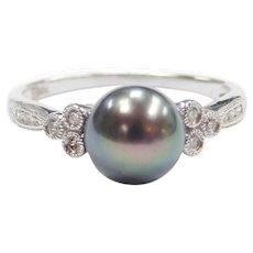 Black Tahitian South Seas Pearl and Diamond 10k White Gold Ring