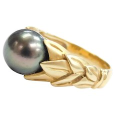 18k Gold Tahitian Pearl Ring with Leaf Setting