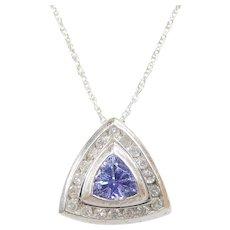 "Vintage 14k White Gold .59 ctw Tanzanite and Diamond Necklace ~ 18"""