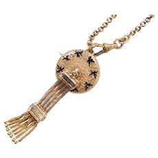 Victorian 14k Gold Enamel Tassel Necklace