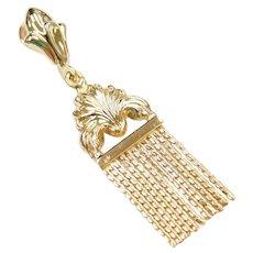 18k Gold Victorian Revival Tassel Pendant