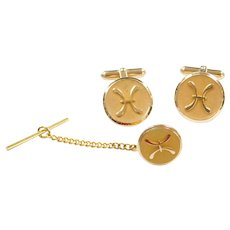 14k Gold Tie Tack and Cufflinks Set
