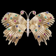 Authentic Retired 18k Gold Tiffany & Co Colorful Gemstone Butterfly Pin / Brooch 1.17 ctw