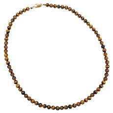 """16"""" 14k Gold Tigers Eye Beaded Necklace"""