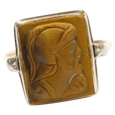 Victorian Tigers Eye Carved Roman Soldier Cameo Ring ~ 10k Gold and Platinum