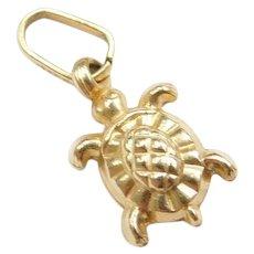 14k Gold Tiny Puff Turtle Charm
