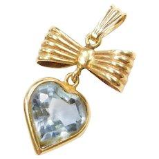 14k & 18k Gold Blue Topaz Heart and Bow Pendant
