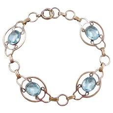 "Victorian Gold Vermeil Blue Topaz Bracelet ~ Sterling Silver ~ 7 1/2"""