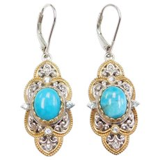 Sterling Silver Gold Plated Created Larimar, Light Blue and White Topaz Earrings