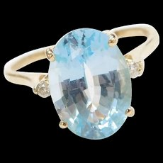 Vintage 14k Gold 6.61 ctw Blue Topaz and Diamond Ring
