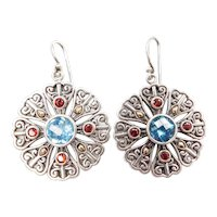 Sterling Silver and 18k Gold Blue Topaz and Garnet Ornate Earrings