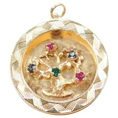 14k Gold Tree of Life Charm with Colorful Glass