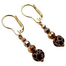 14k Gold Tri-Color Ornate Enamel Bead Earrings with Lever Backs