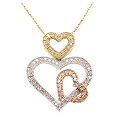 """20"""" 14k Gold .39 ctw Diamond Tri-Color Heart Necklace"""