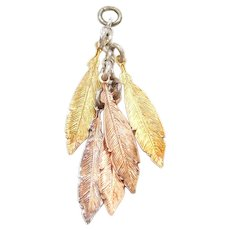 Sterling Silver Gold Plated Leaf Tassel Pendant / Charm
