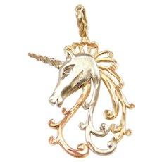 Vintage 14k Gold Tri-Color Unicorn Charm / Pendant