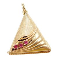 14k Gold Big Triangle Memory Locket Pendant / Perfume Locket ~ Pink Glass