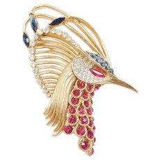 RARE Trifari 'Alfred Philippe' Invisibly Set Ruby, Sapphire & Diamante Rhinestones 'Firebirds' Peacock Pin ~ Signed Crown Hallmark