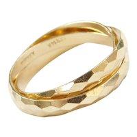 Vintage 14k Gold Triple Band Diamond Cut Rolling Ring