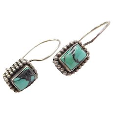 Sterling Silver Rectangle Turquoise Earrings