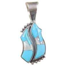 Sterling Silver Blue Turquoise and Mother of Pearl Pendant
