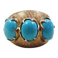 Edwardian 14k Gold Three Stone Turquoise Ring