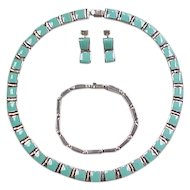 950 Silver Turquoise Set ~ Earrings, Bracelet, Necklace