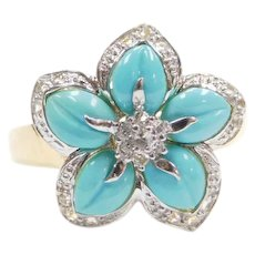 14k Gold Turquoise and White Spinel Flower Ring