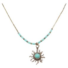"16"" Turquoise Sun Necklace Sterling Silver"