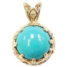 Sterling Silver Gold Plated Turquoise Pendant