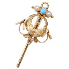 Victorian 14k Gold Turquoise and Seed Pearl Stick Pin ~ Anchor and Leaf Details