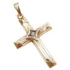 1930-40's 10k Gold Two-Tone Cross Pendant with Diamond Accent