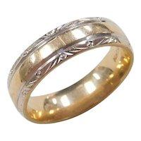 Vintage 14k Gold Two-Tone Wedding Band Ring
