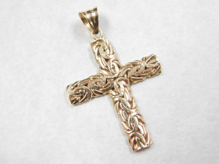 Vintage 14k gold two tone byzantine cross pendant arnold jewelers vintage 14k gold two tone byzantine cross pendant mozeypictures Image collections