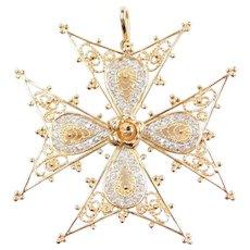 Big 14k Gold .26 ctw Diamond Filigree Crusaders Cross Pendant / Pin with Rose Flower Center ~ Two-Tone