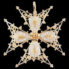 Big 14k Gold .26 ctw Diamond Filigree Crusaders Cross Pendant / Pin with Rose Flower Center ~ Two-Tone