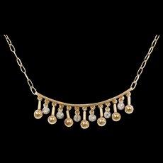 "Vintage 14k Gold Two-Tone .12 ctw Diamond Necklace ~ 15 1/2"""