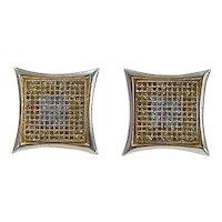 Vintage 14k Gold Two-Tone Diamond Stud Earrings