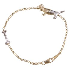 """Vintage 14k Gold Two-Tone Articulated Dachshund Dog and Bone Bracelet ~ 7"""""""