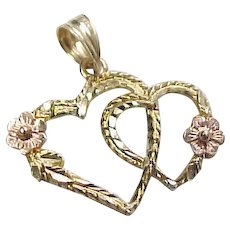 Vintage 14k Gold Two-Tone Heart Charm with Flowers