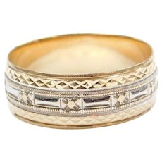 14k Gold Etched Wedding Band Ring