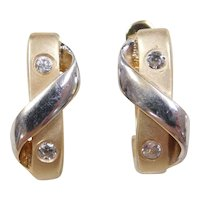 Vintage 14k Gold Two-Tone Faux Diamond Hoop Earrings
