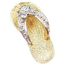 14k Gold Two-Tone Flip Flop Charm / Pendant